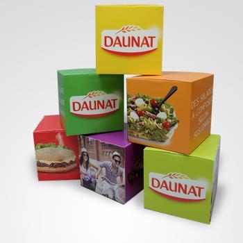 Publidécor, réalisations, cubes à dépliage automatique Daunat