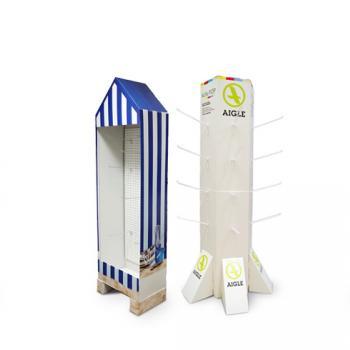 PLV de sol casiers, porte-leaflets, broches